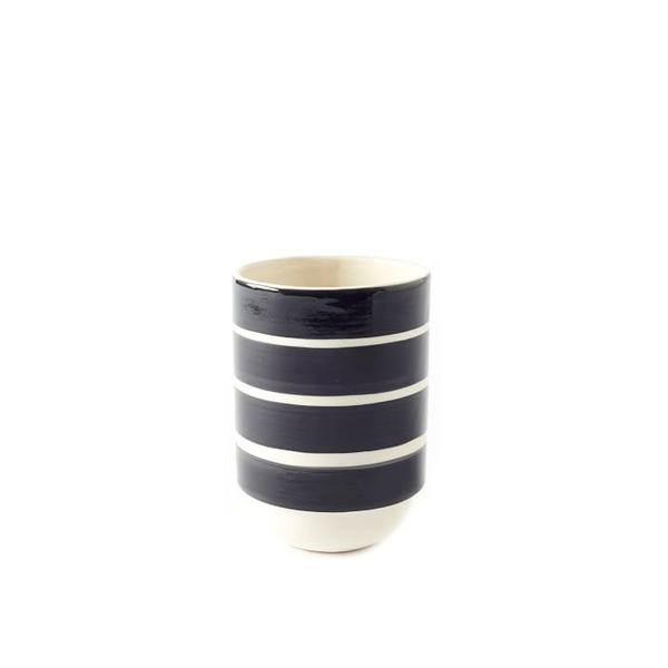 West Elm Wide Stripe Hand Stamped Vase
