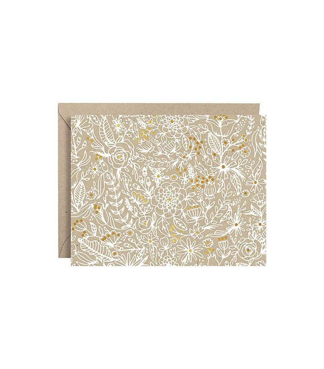 Paper Source White Sketch Floral Foil Stationery Set of 10