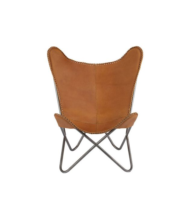CB2 Leather Butterfly Chair