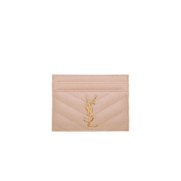 Saint Laurent Pink Quilted Monogram Card Holder
