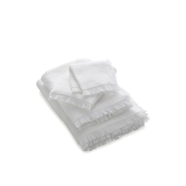 Crate & Barrel White Fringe Bath Towels