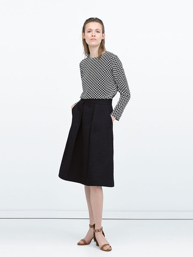 Zara Box Pleats Jacquard Midi Skirt