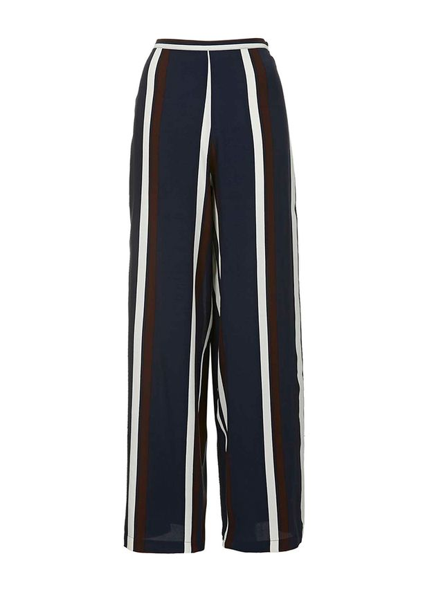Topshop Navy Stripe Wide Leg Trousers