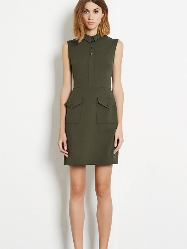 Warehouse Military Shift Dress