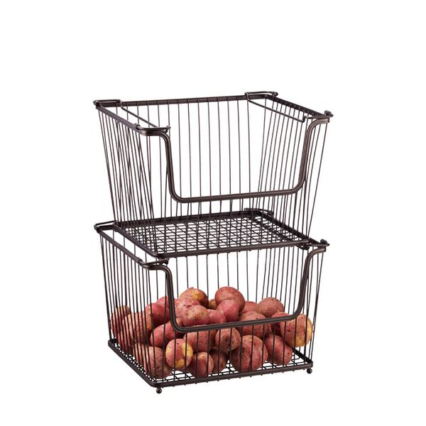 The Container Store Large Bronze York Open Stack Basket