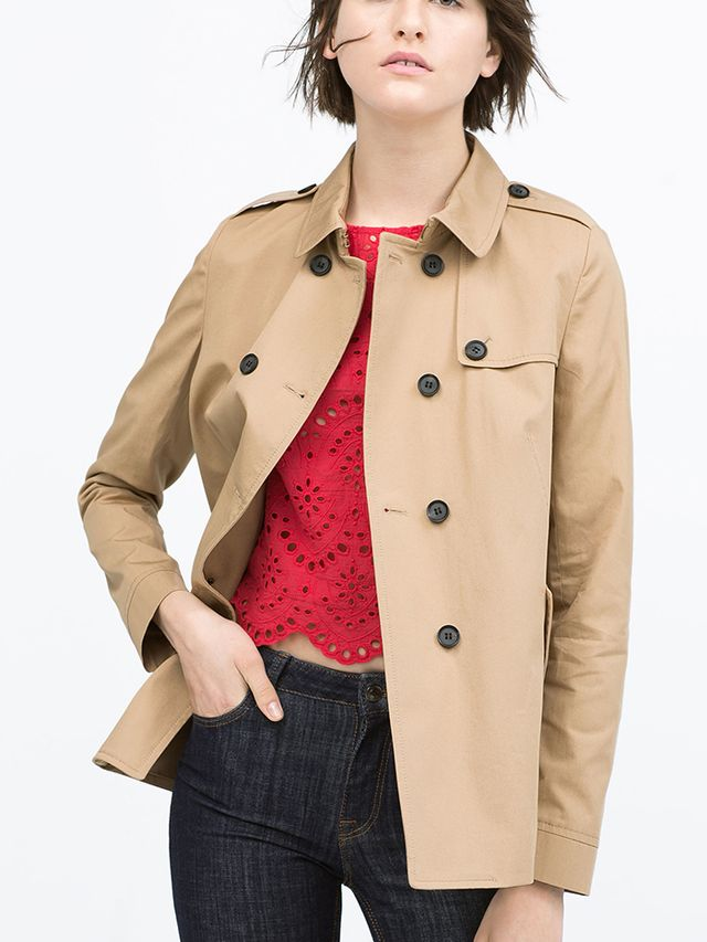 Zara Short Cotton Raincoat
