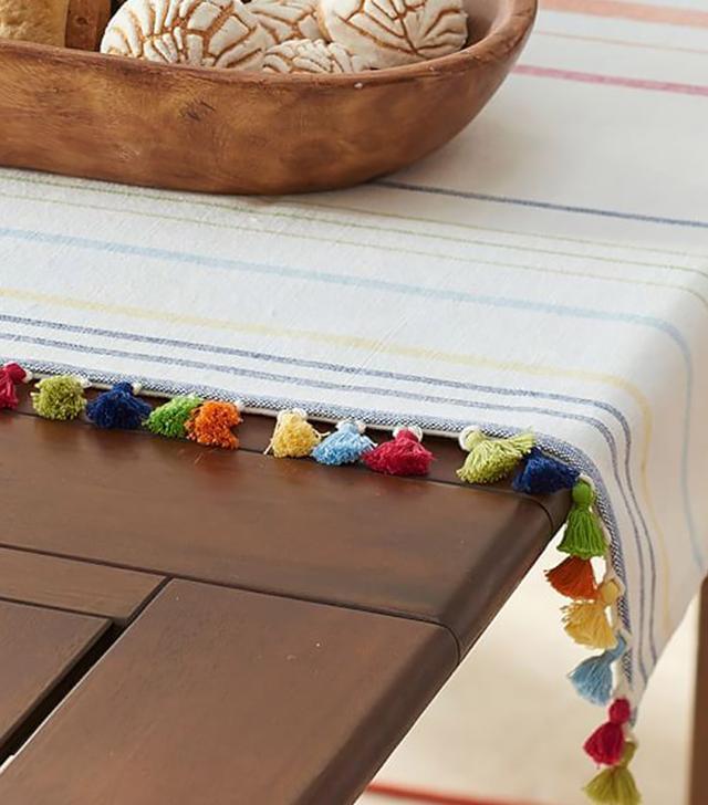 Pottery Barn Stripe Tassel Table Throw