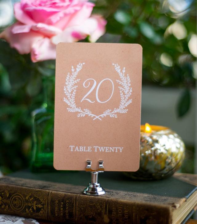 Sixpense Press Sweet Vintage Kraft Wedding Table Numbers
