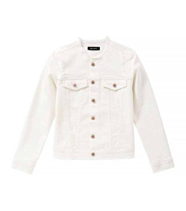 Joe Fresh Distressed White Denim Jacket