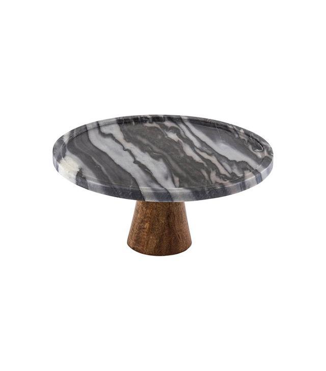 Thirstystone Black Marble & Wood Cake Stand