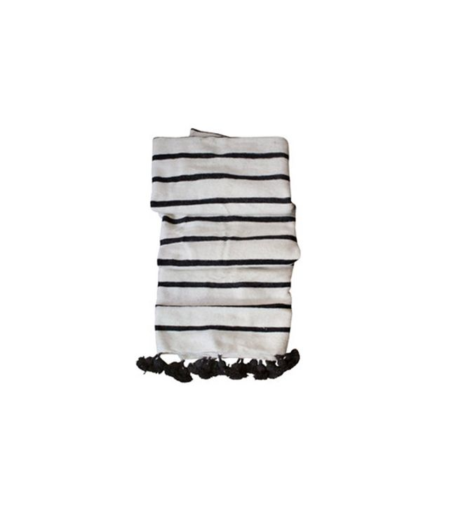 Hollywood at Home Handwoven Moroccan Striped Pom Blanket