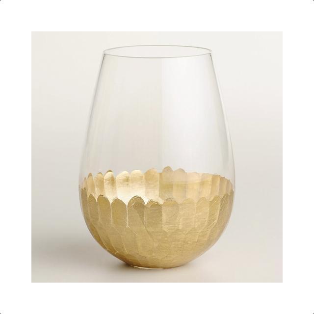 World Market Gold Stemless Wine Glasses