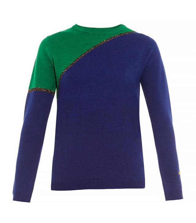 Bella Freud Diagonal Colour-Block Wool Sweater