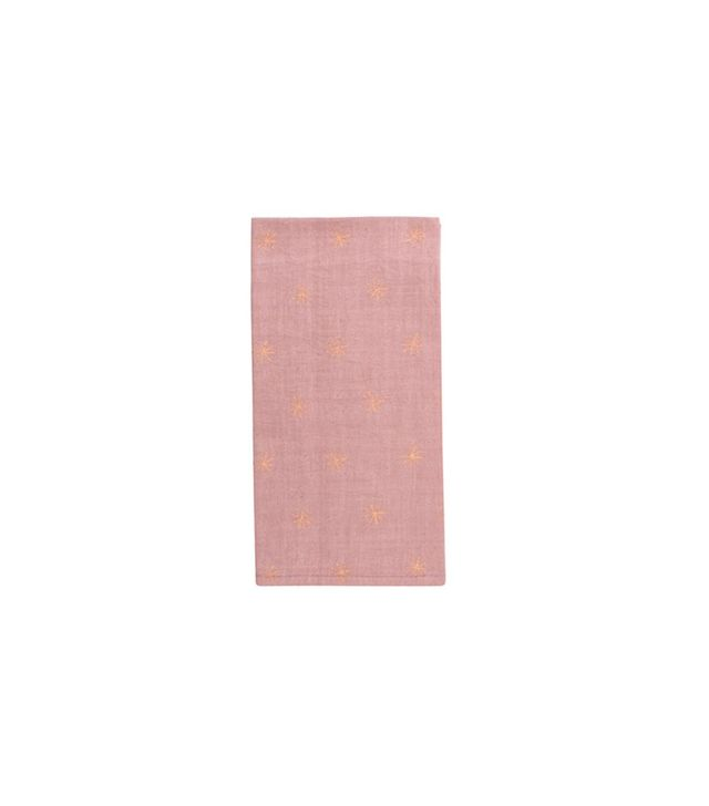 Canvas Home Star Metallic Napkin in Pink With Copper Stars