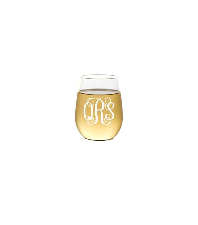 Etsy Monogrammed Stemless Wine Glass