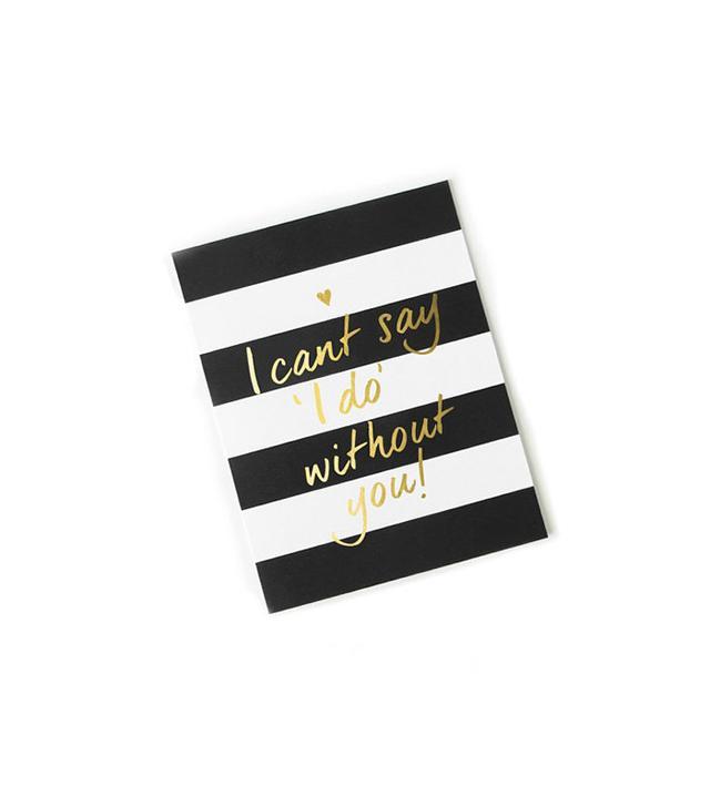 Karma Paper Co. Weddings Black and White Stripes Bridesmaid Card
