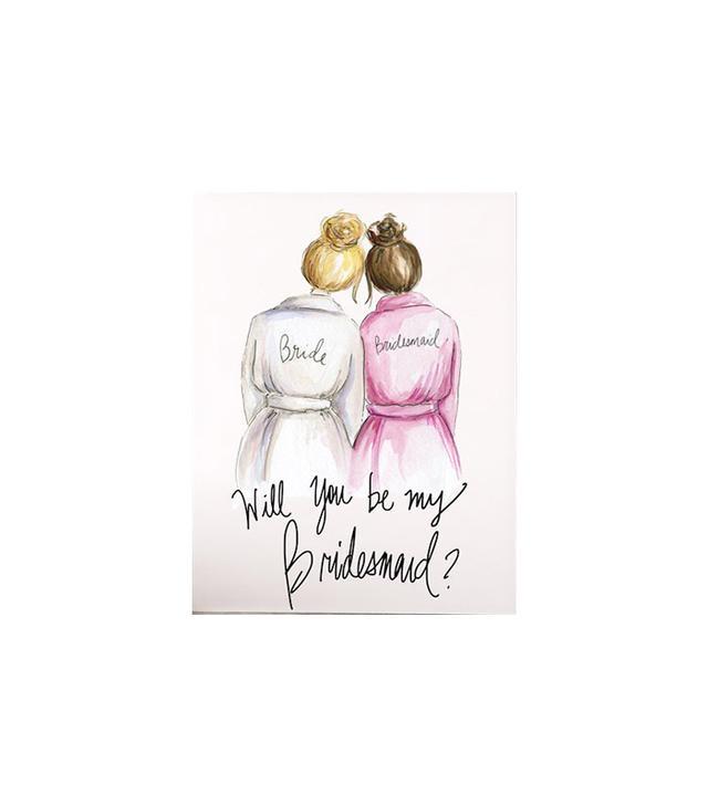 April Heather Art Bridesmaid Printable Card