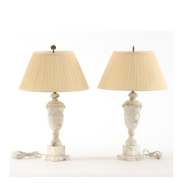 EBTH Pair of Alabaster Lamps