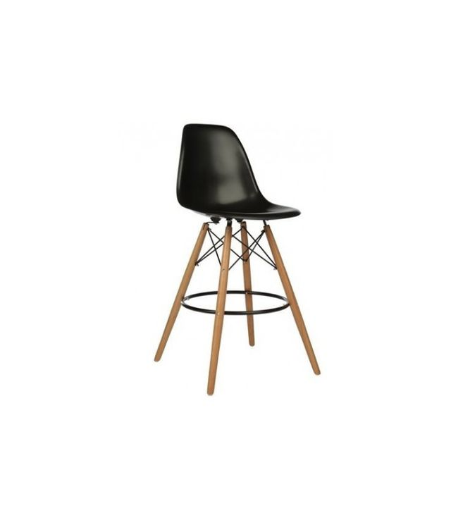 DSW Eames-Style Moulded Black Plastic Bar Stool