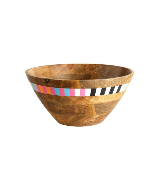 World Market Striped Wood Salad Bowl