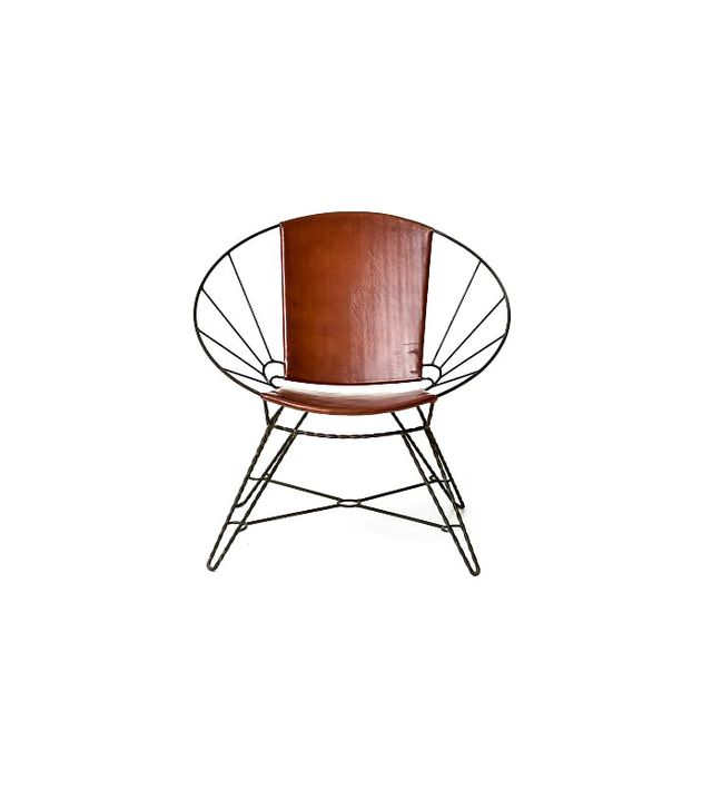 West Elm Sculpted Metal Leather Bowl Chair