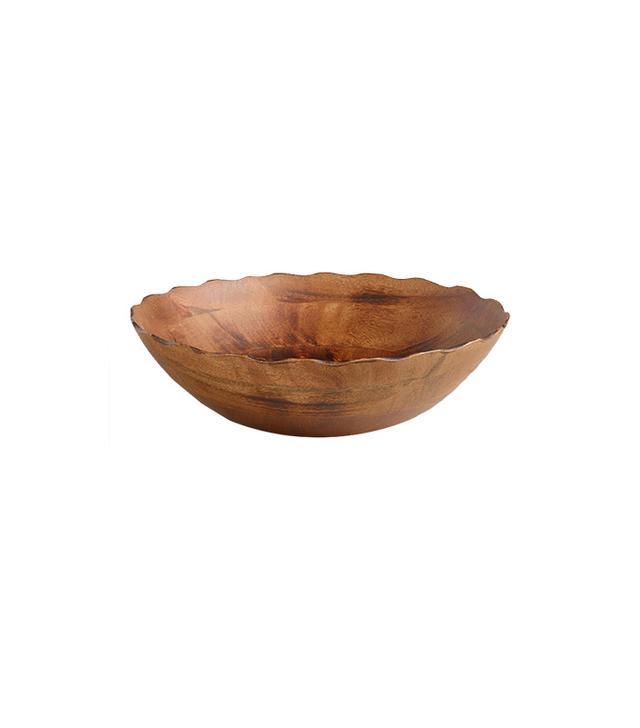 World Market Mango Wood Scalloped Salad Bowl