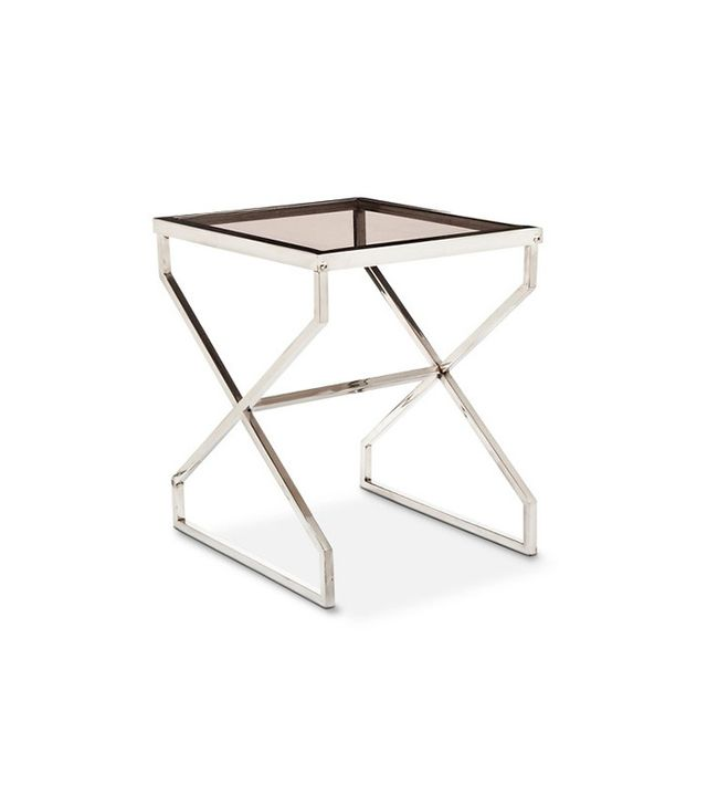Nate Berkus Silver and Smoked Glass Accent Table