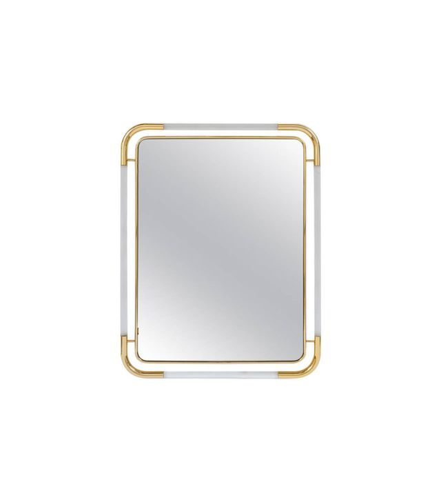 Derive Large Lucite and Brass Mirror in the Style of Romeo Rega