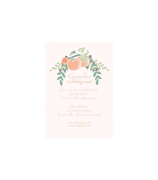 Paint It White Crafts Customisable Little Peach Invitation
