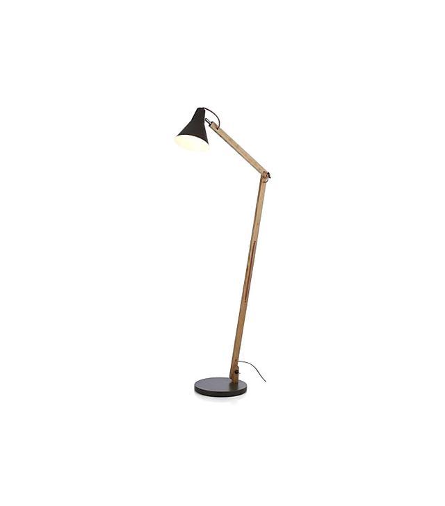Crate & Barrel Rex Grey Floor Lamp