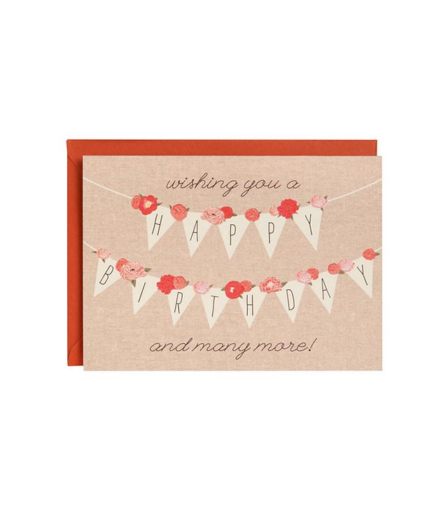 Paper Source Floral Banner A6 Birthday Card