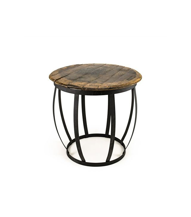 Reclaimed Wood Barrel Side Table