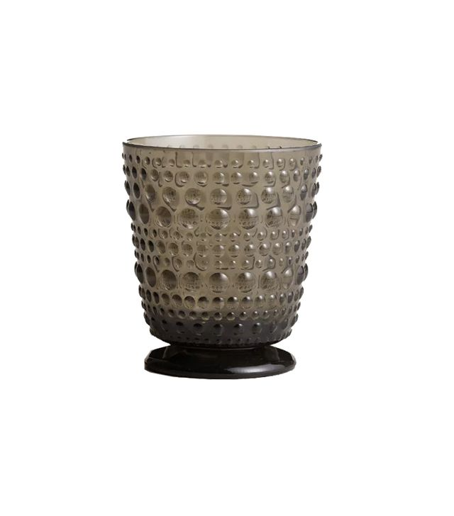 World Market Acrylic Grey Footed Hobnail Glasses