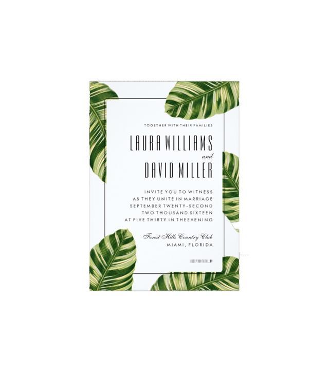 Tropical Palm Tree Beach Wedding Invitation