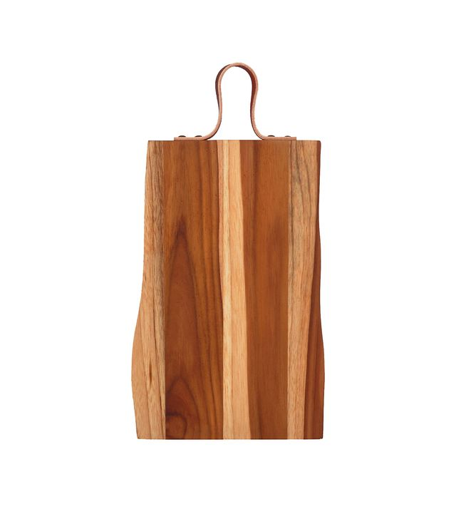 One Kings Lane Teak Wood Cutting Board With Leather Strap