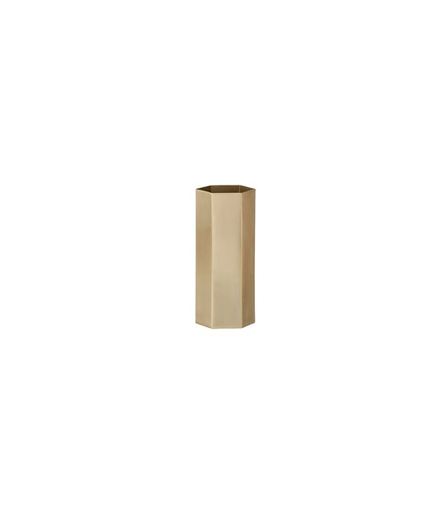 Ferm Living Hexagon Brass Vase