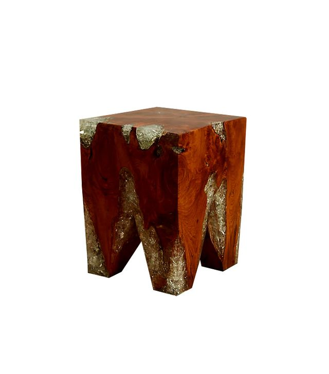 Anthropologie Resin-Coated Pine Side Table