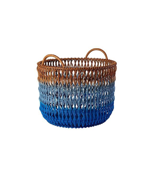 The Land of Nod Fade Up Rattan Floor Basket