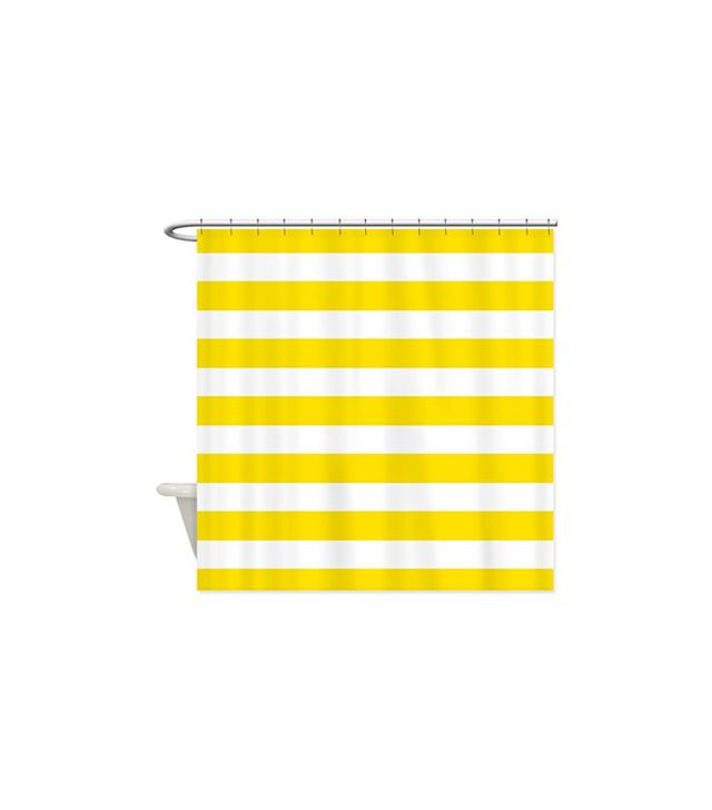 Cafe Press Yellow and White Stripes Shower Curtain