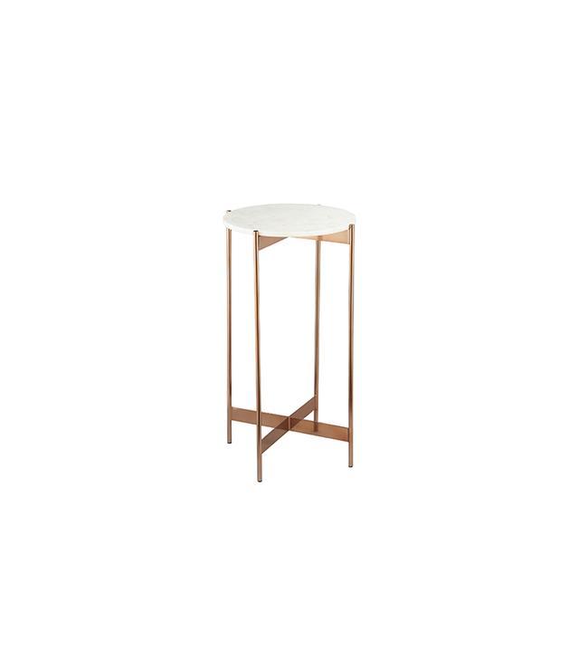CB2 Marble-Rose Gold Pedestal Tables