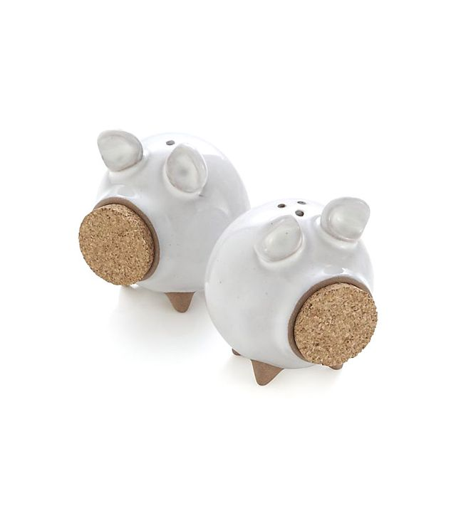 Crate and Barrel Set of 2 Oink Salt and Pepper Shakers