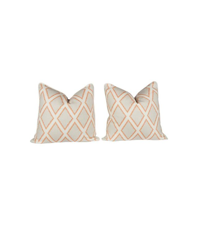 One Kings Lane Coral and Ivory Linen Pillows