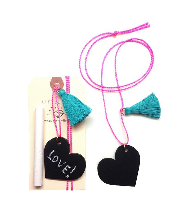 Little Lux Chalkboard Heart Necklace With Chalk