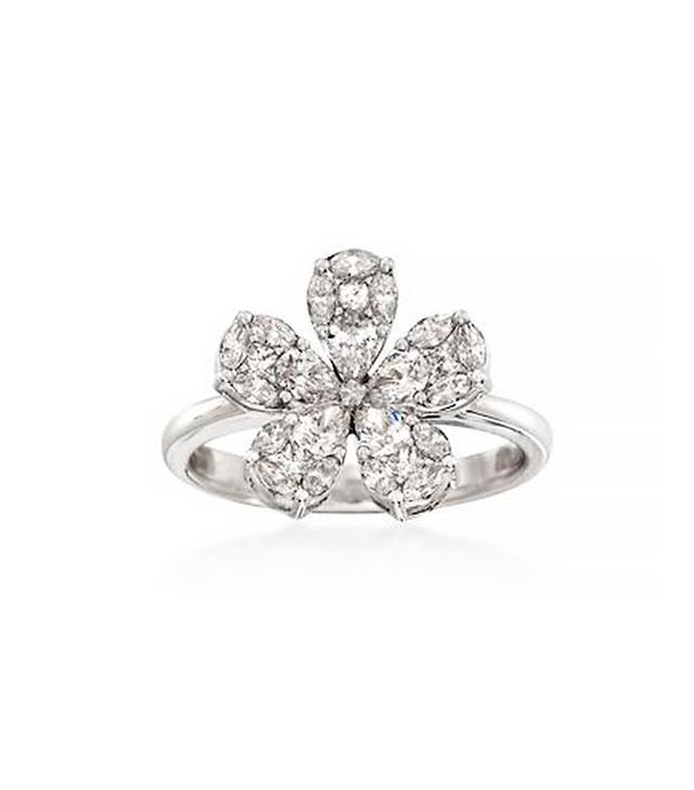 Ross-Simons Diamond Floral Ring, White Gold