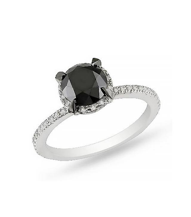 Zales Enhanced Black and White Diamond Solitaire Ring, White Gold
