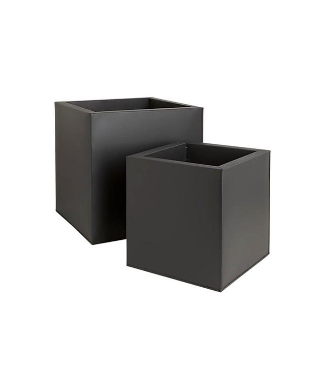 CB2 Box Galvanised Matte Black Planters