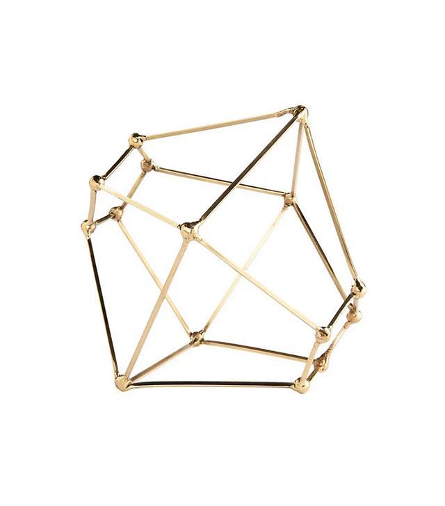 Gold Leaf Design Group Brass Polyhedron Sculpture