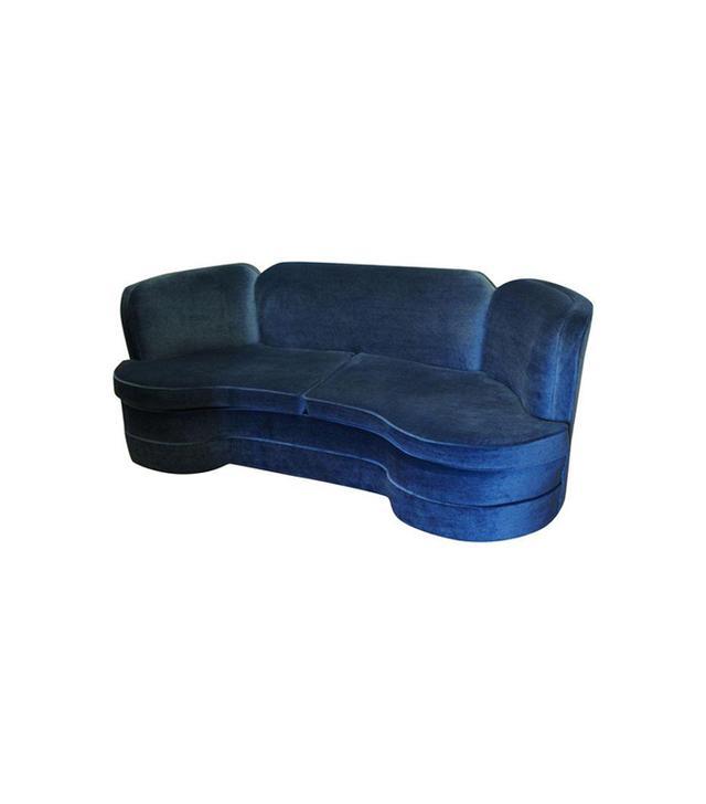 Chairish Hollywood Regency Blue Mohair Velvet Sofa