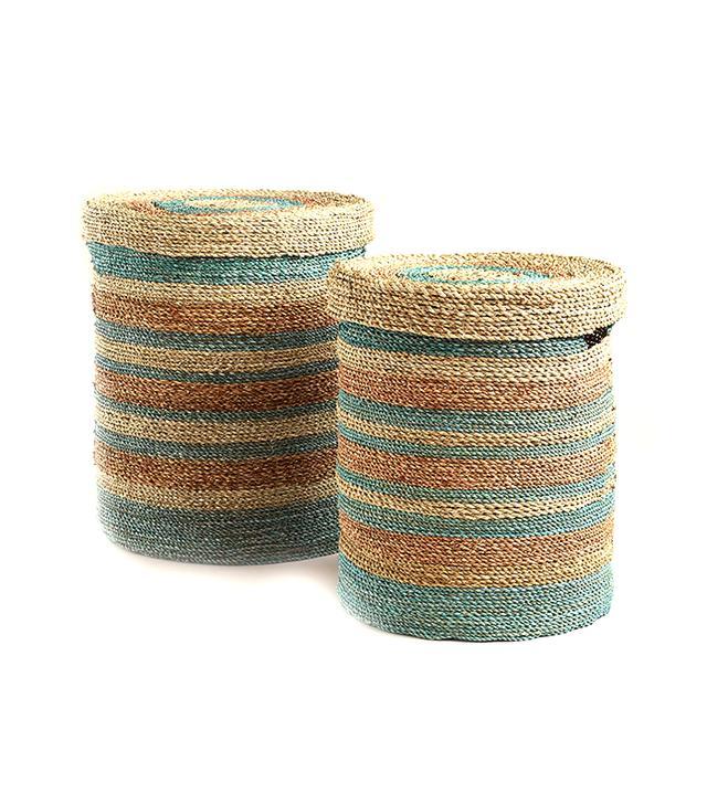 World Market Green and Blue Round Sea Grass Sarah Baskets