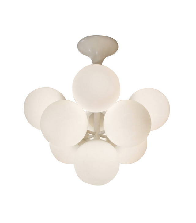 Temde Leuchten Atomic Chandelier in White Enamel with Opal Globes